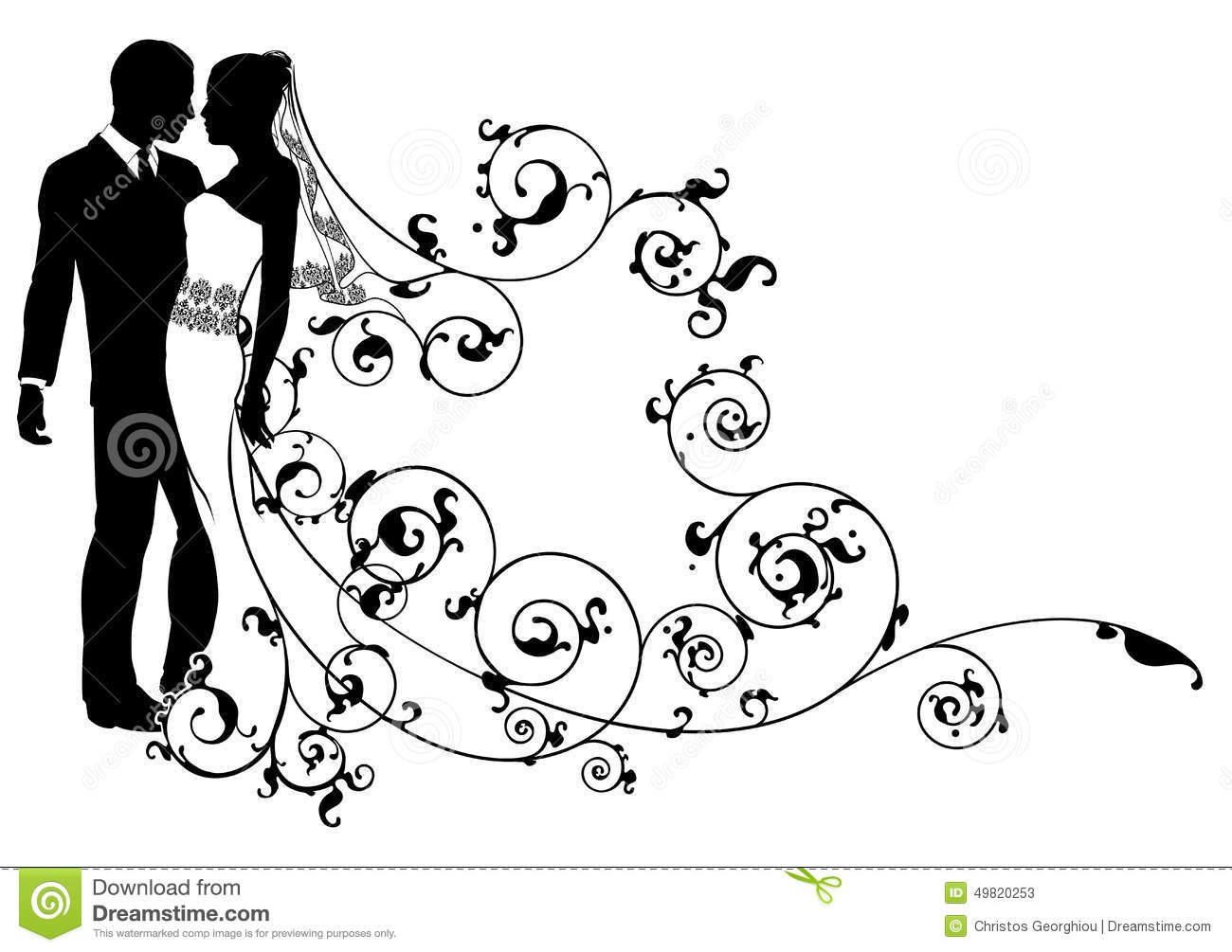 Bride And Groom Abstract Stock Vector