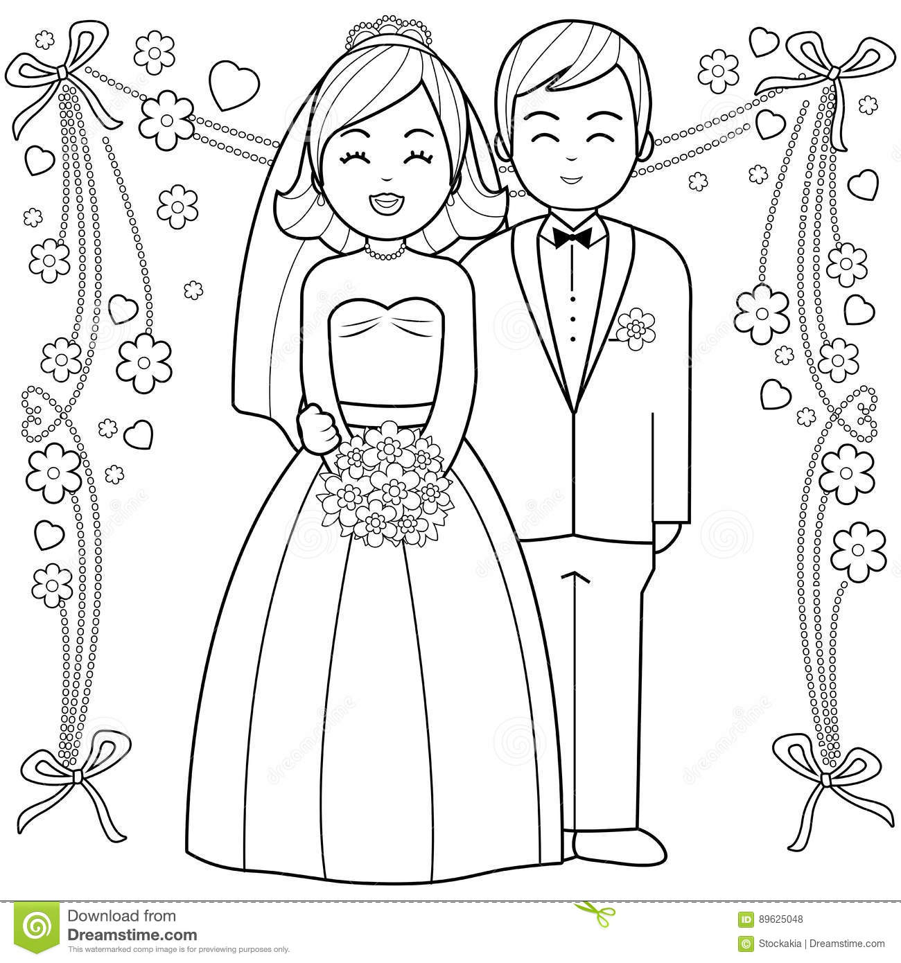 Bride And Groom Coloring Book Page Stock Vector