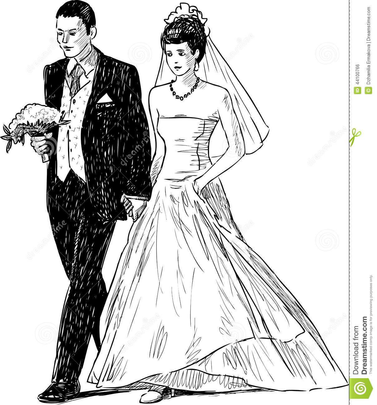 Bride And Groom Stock Vector Illustration Of Happy Dress