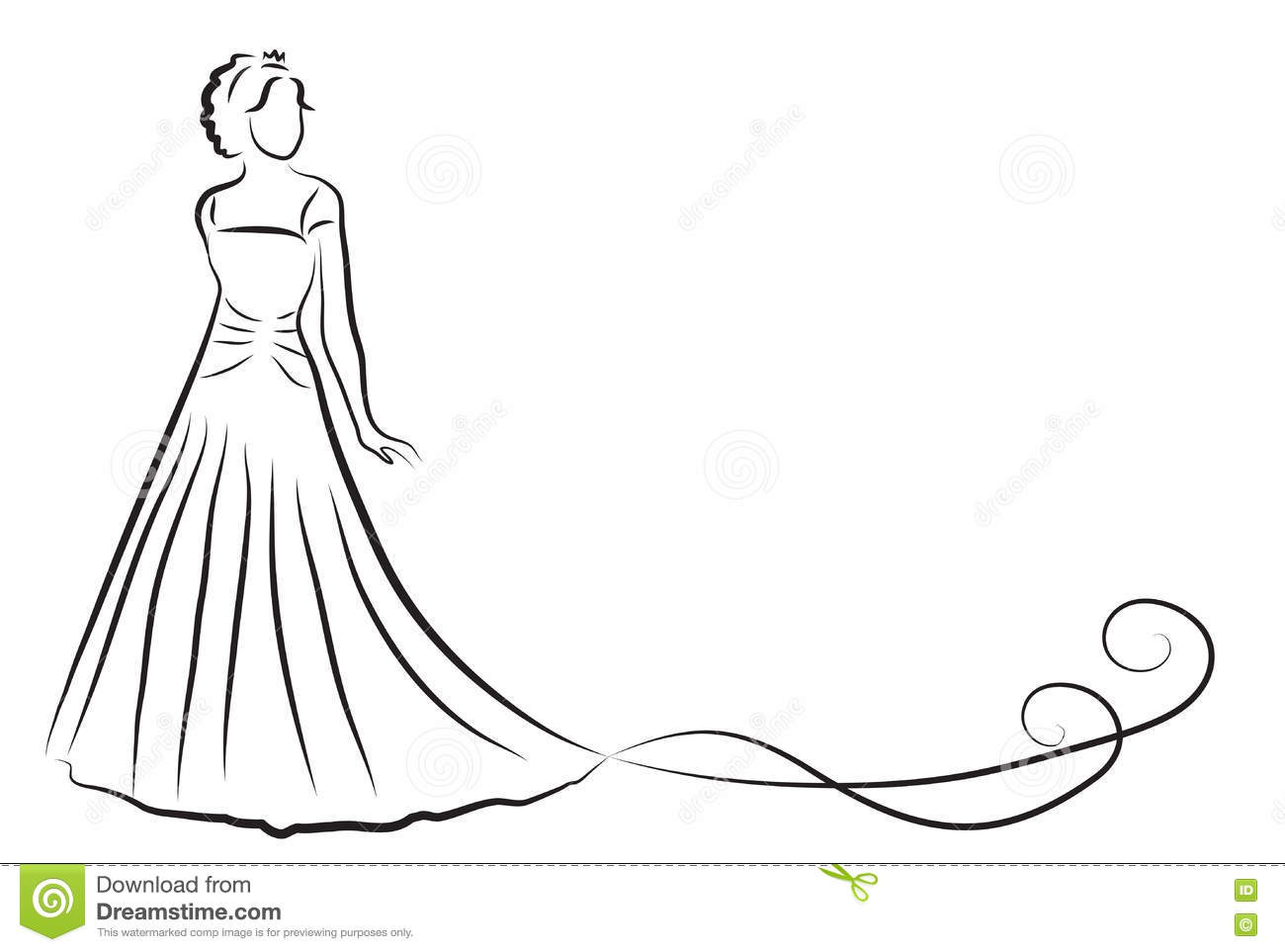 Bride Silhouette Sketch Bride The Bride In A Beautiful