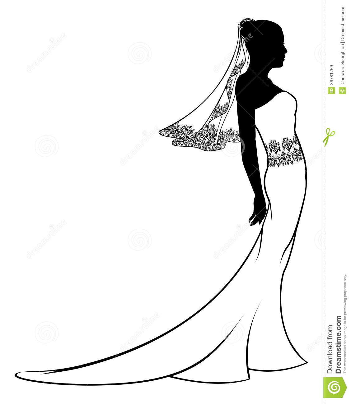 Bride Wedding Dress Silhouette Royalty Free Stock Images