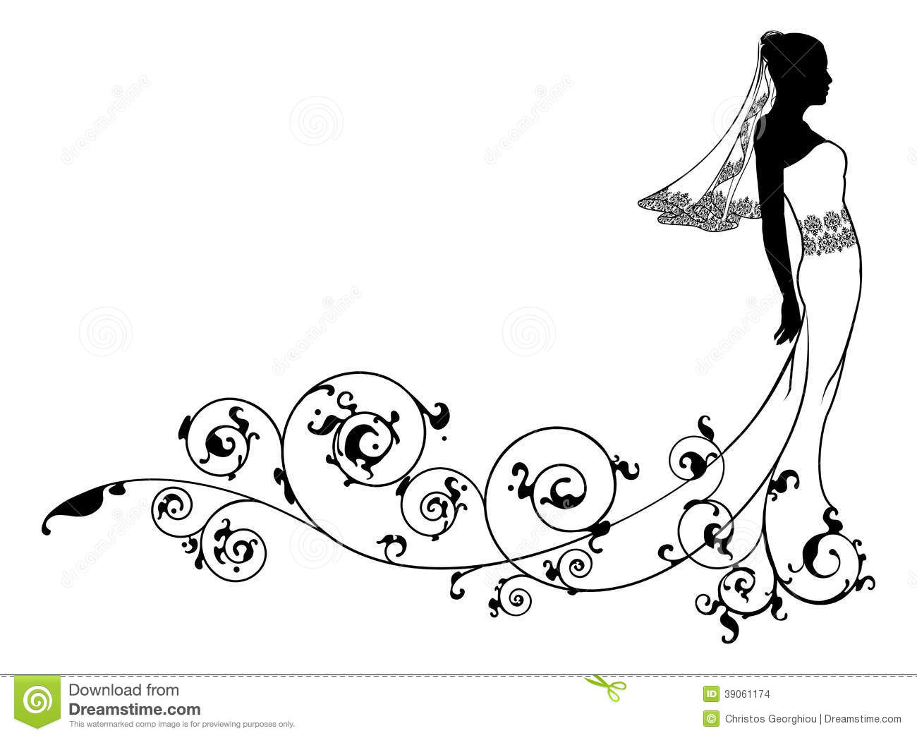 Bride Wedding Fashion Silhouette Stock Vector