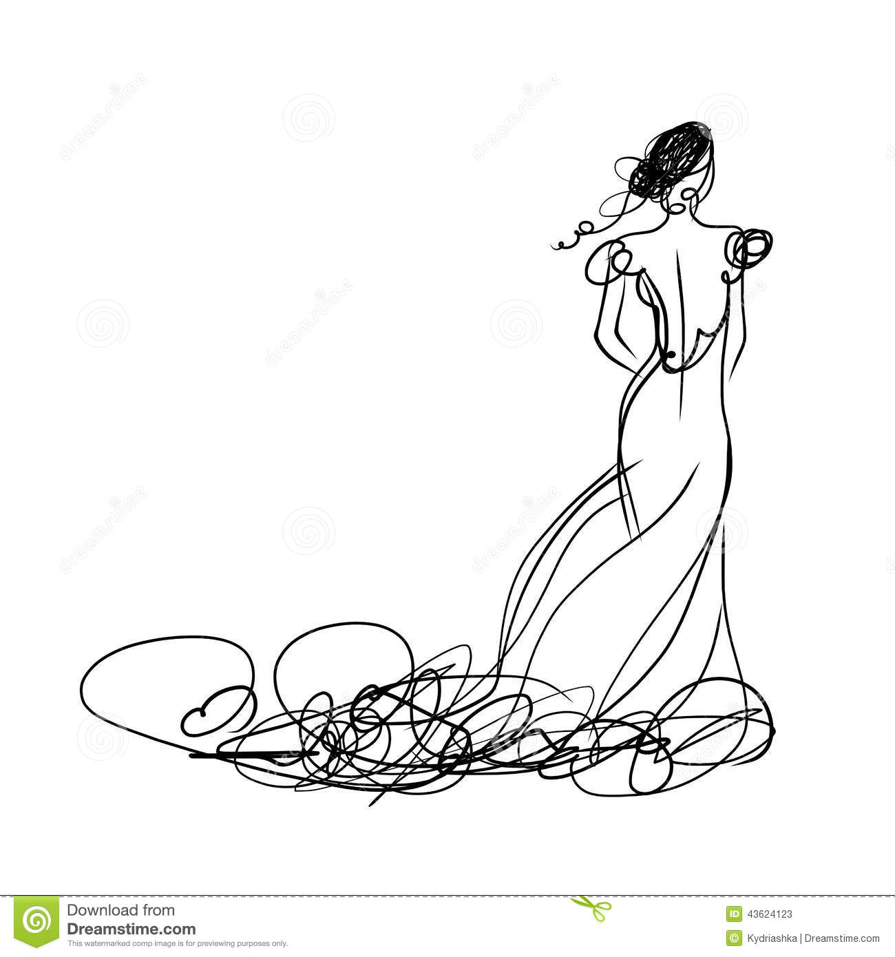 Bride In White Dress Sketch For Your Design Stock Vector