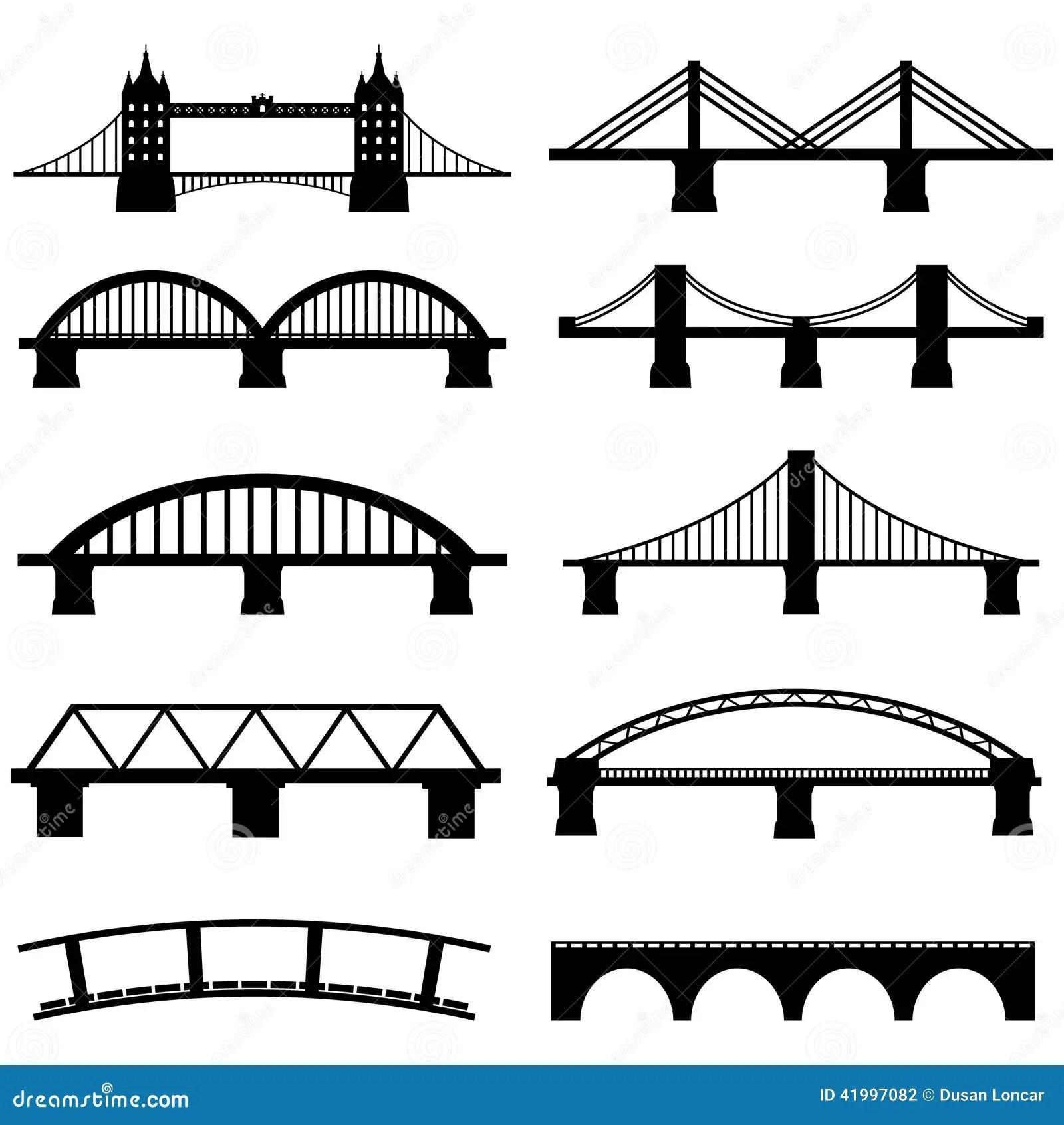 Bridge Icons Set Stock Vector