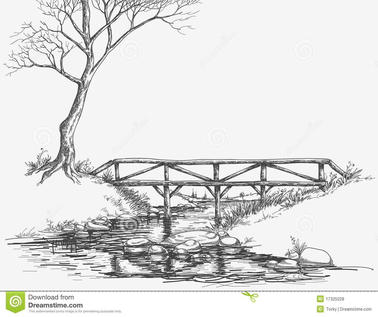 Bridge Over River Stock Vector Illustration Of Path