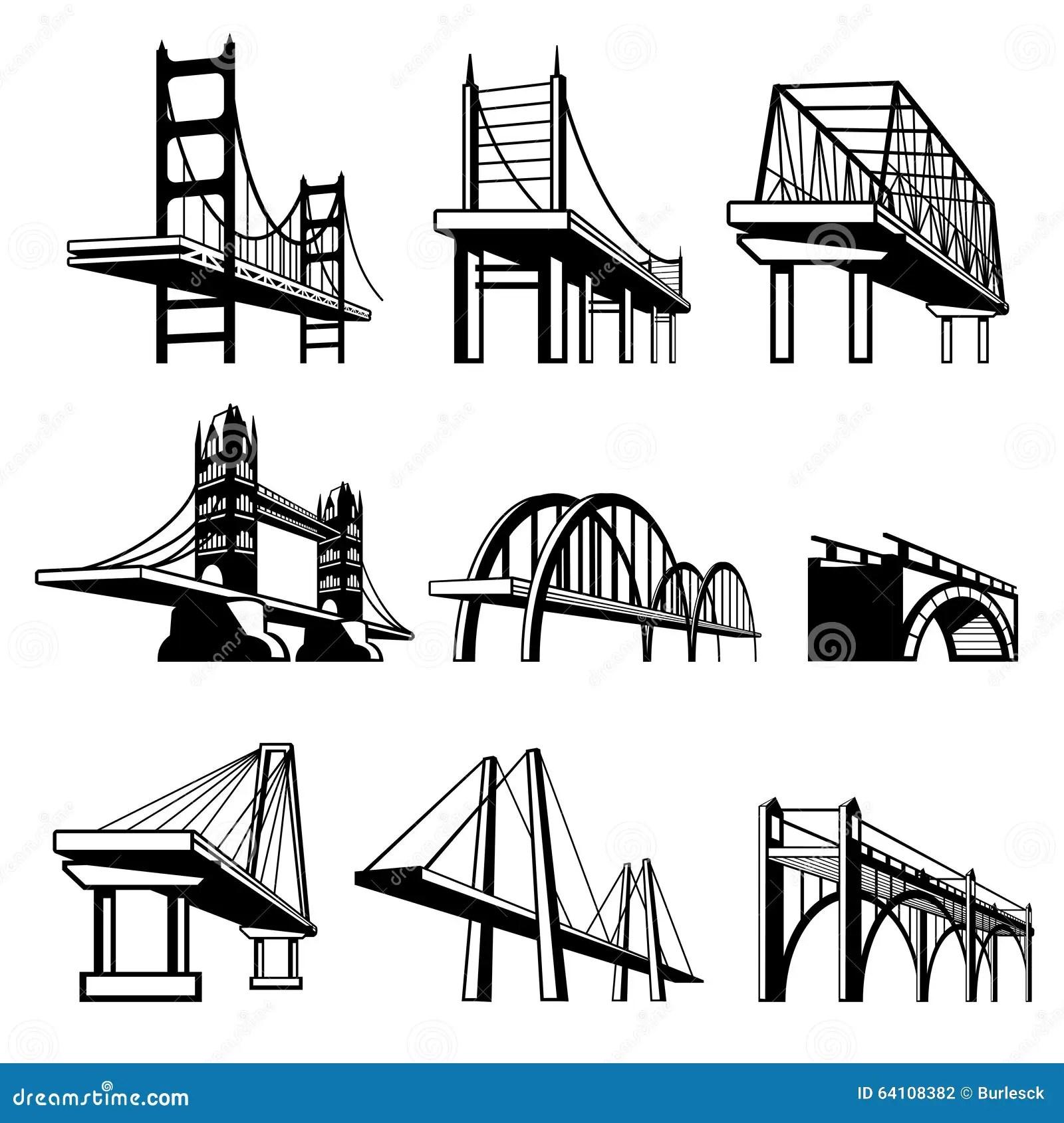 Bridges In Perspective Vector Icons Set Stock Vector