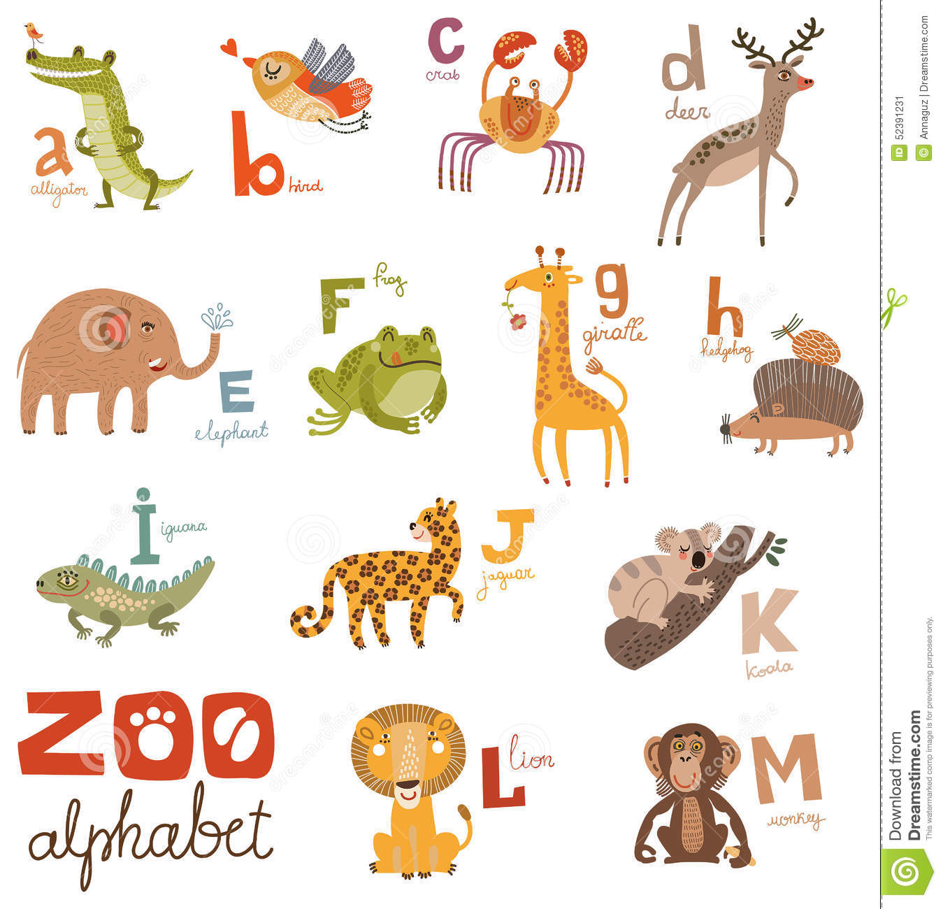Bright Alphabet Set Letters With Cute Animals Stock Vector