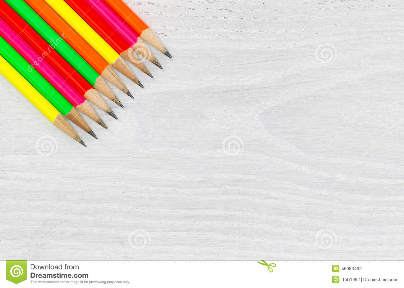 Bright Colorful Pencil Tips On White Wood Desktop Stock Photo