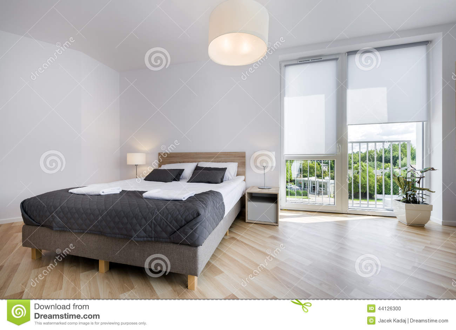 Bright And Comfortable Bedroom Interior Design Stock Photo ... on Comfortable Bedroom Ideas  id=79539