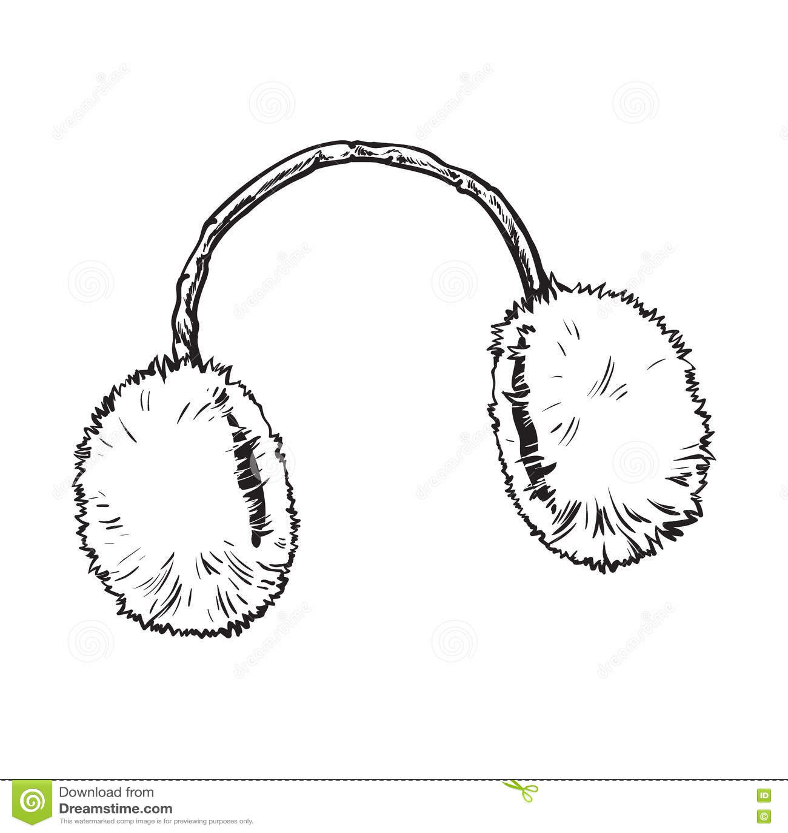 Bright Fluffy Fur Ear Muffs Stock Vector