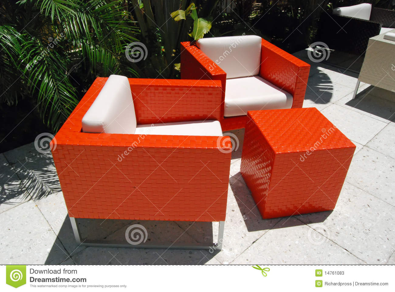 bright orange patio chairs stock image. image of outdoors