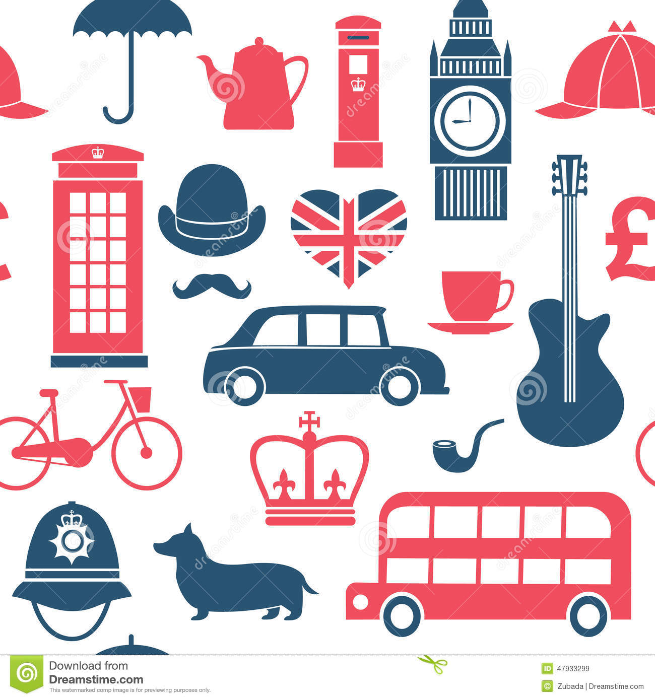British Symbols Seamless Pattern Stock Vector