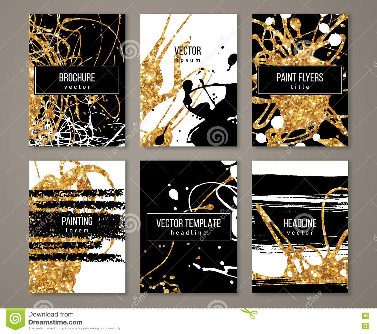Brochure With Pastel Strokes And Gold Paint Stock Vector
