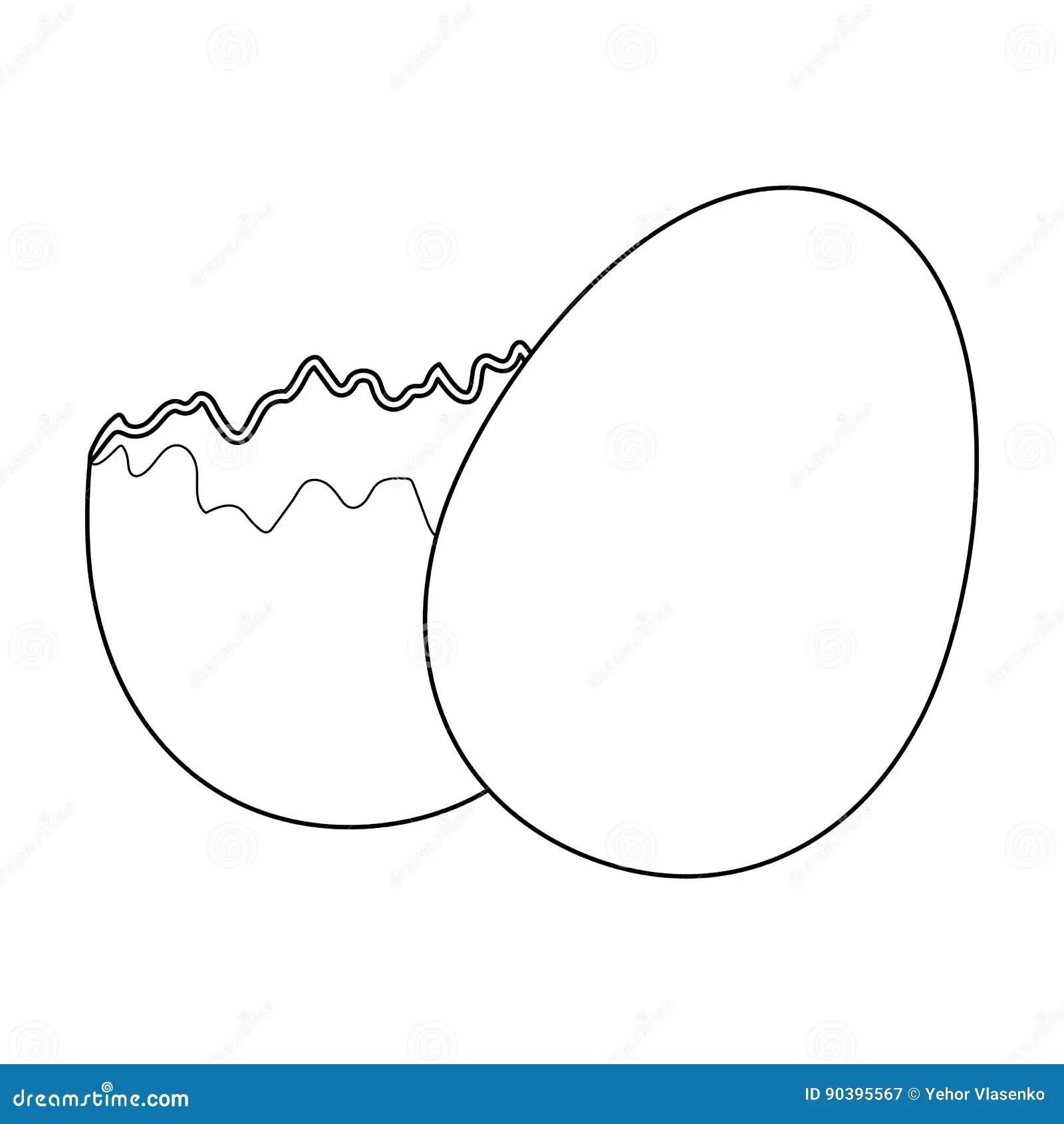 Broken Egg Easter Single Icon In Outline Style Vector