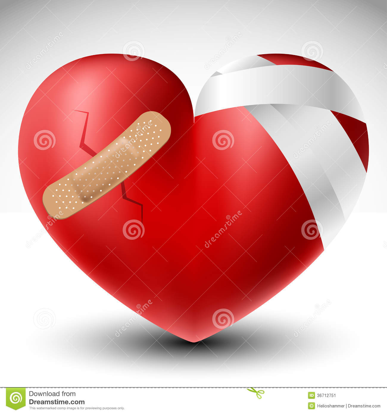 Broken Heart With Bandage Stock Vector Image Of Clinic 36712751