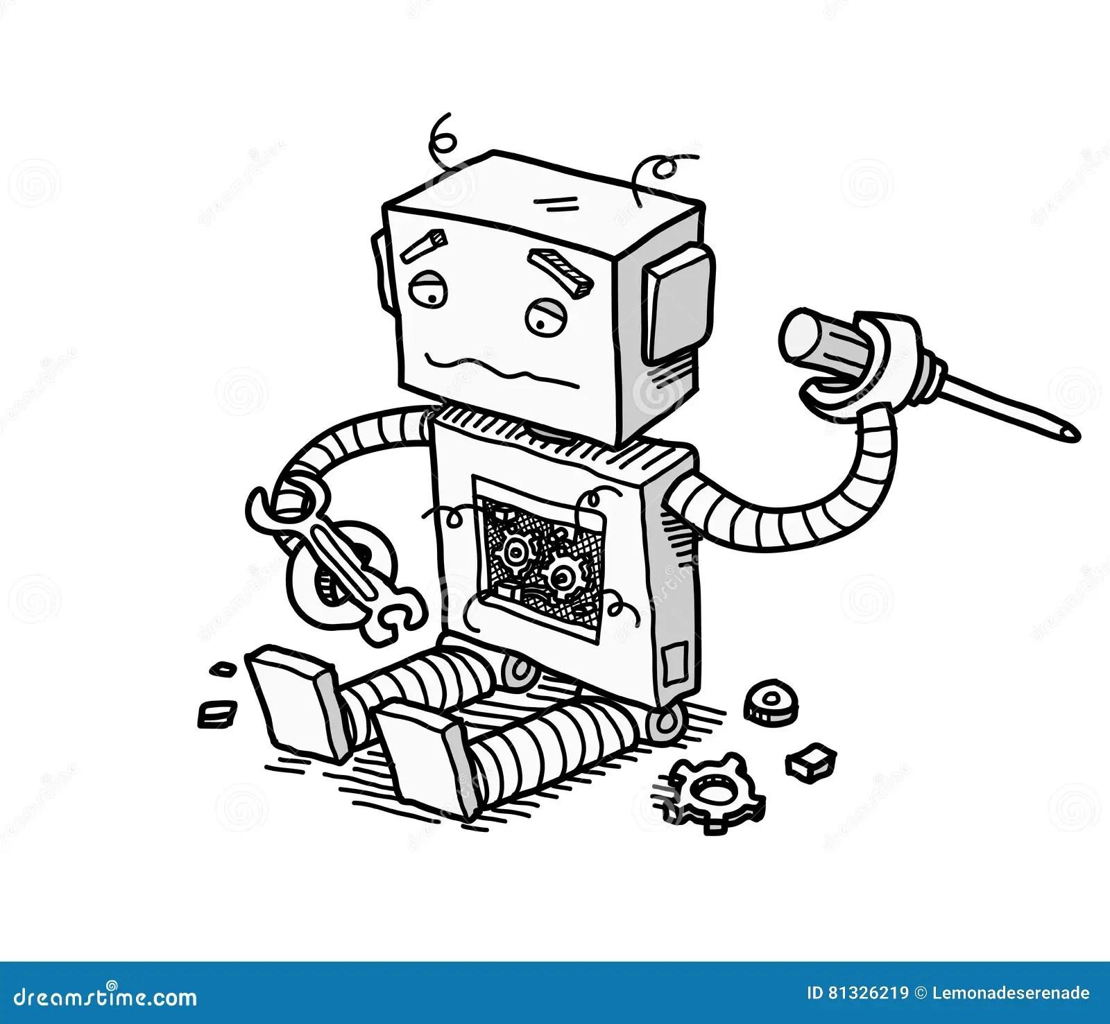 Broken Robot Fix Stock Vector Illustration Of Patch