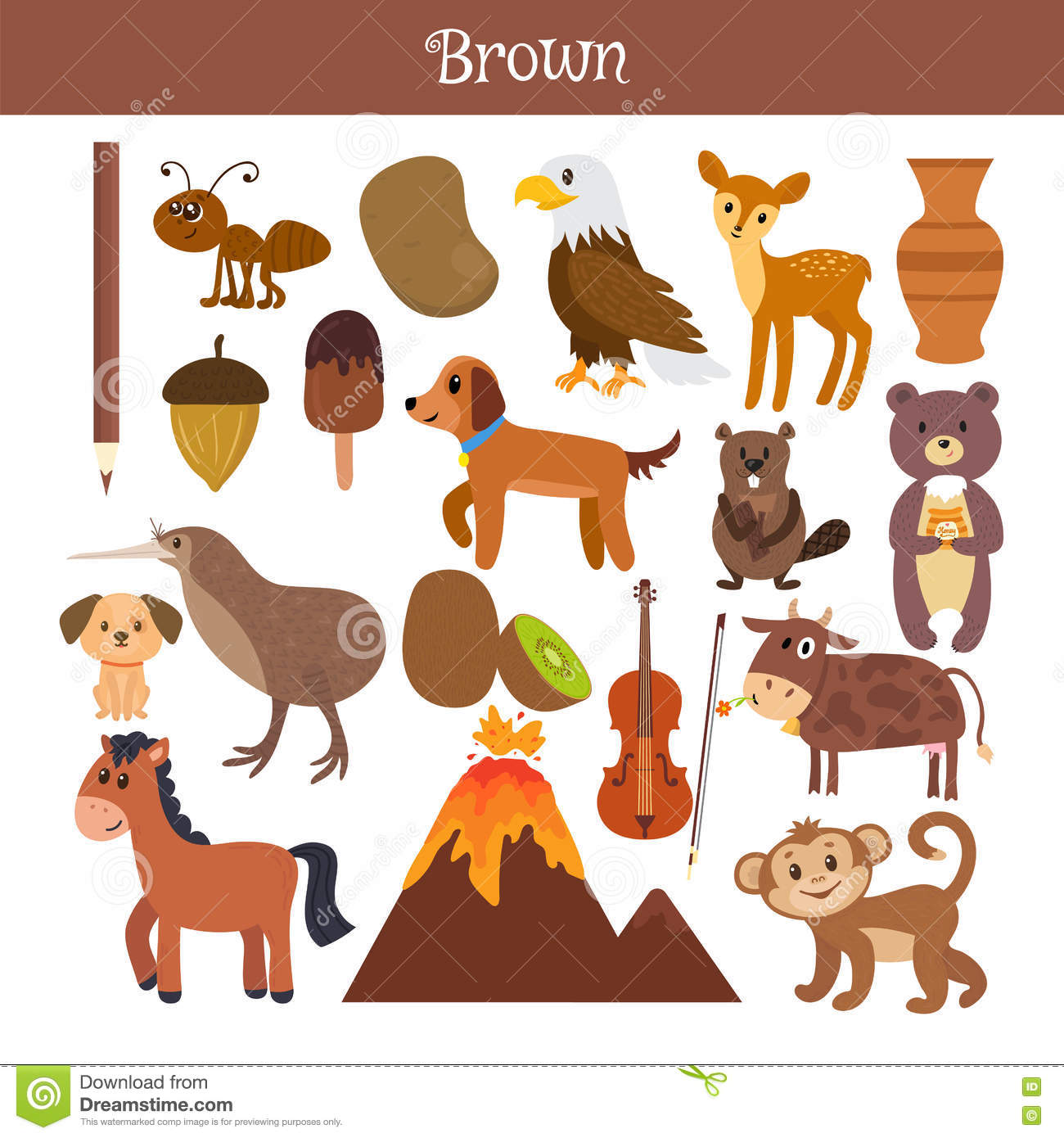 Brown Learn The Color Education Set Illustration Of