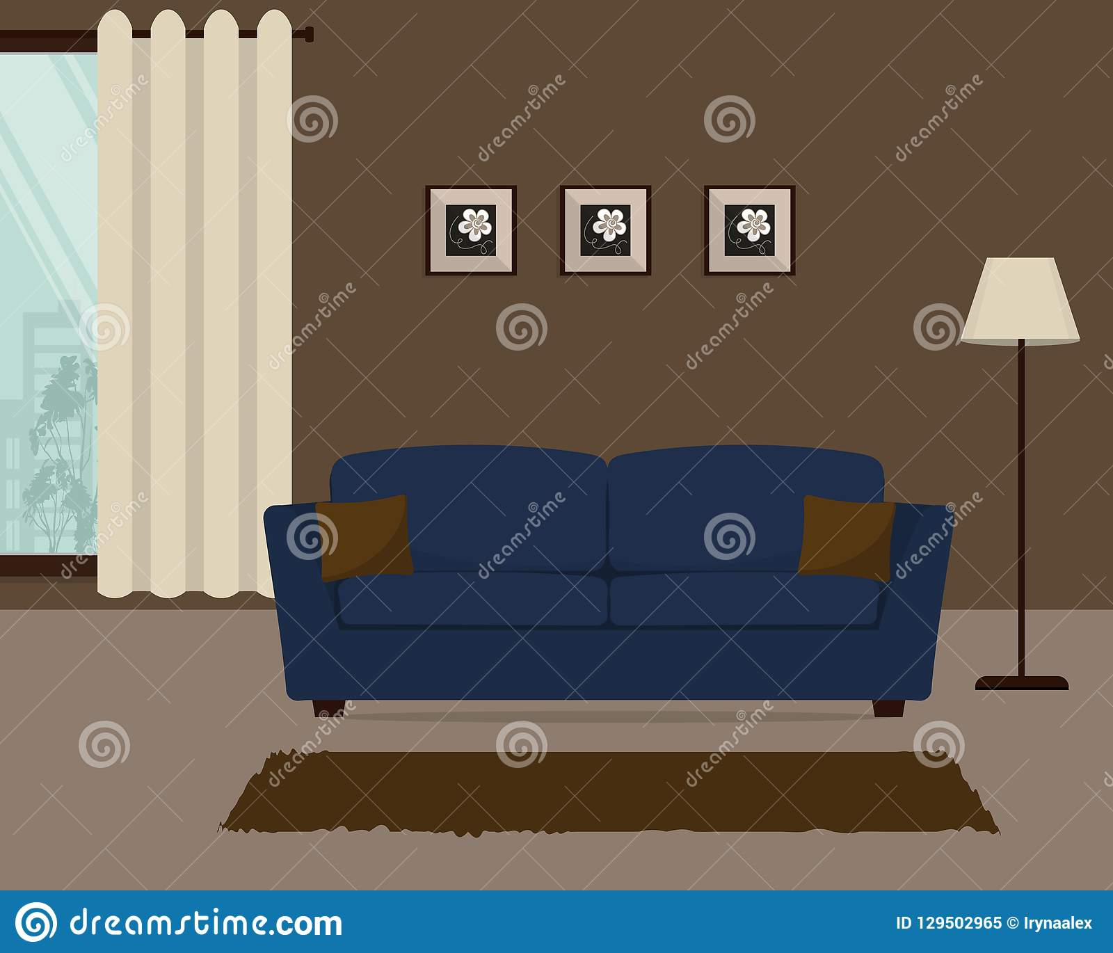Brown Living Room With A Blue Sofa Stock Vector