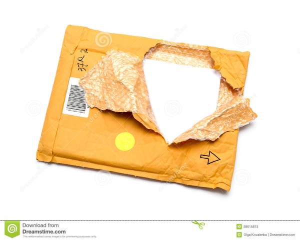 Torn Brown Paper Parcel Or Package, White Background, Copy ...