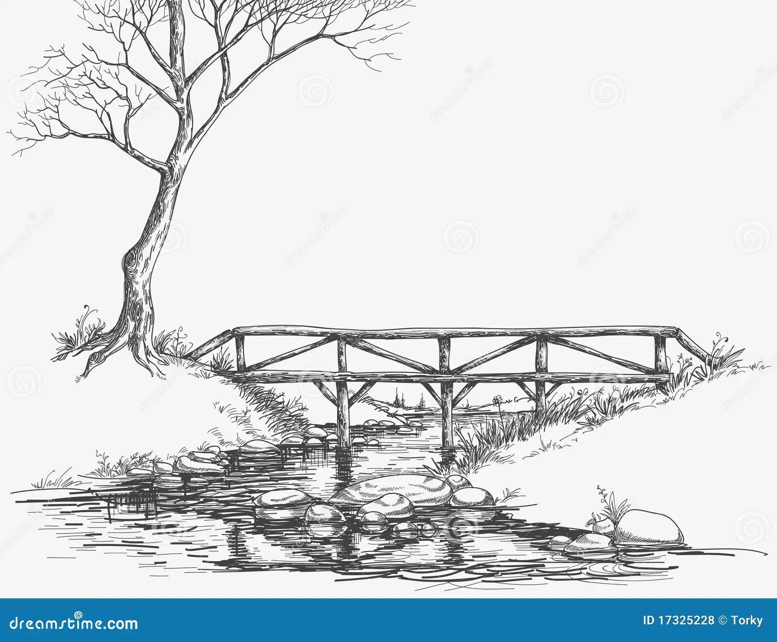 Brug Over Rivier Vector Illustratie Illustratie Bestaande