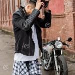 Brutal Man Near His Cafe Racer Custom Motorbike Stock Photo Image Of Motor Helmet 94727316
