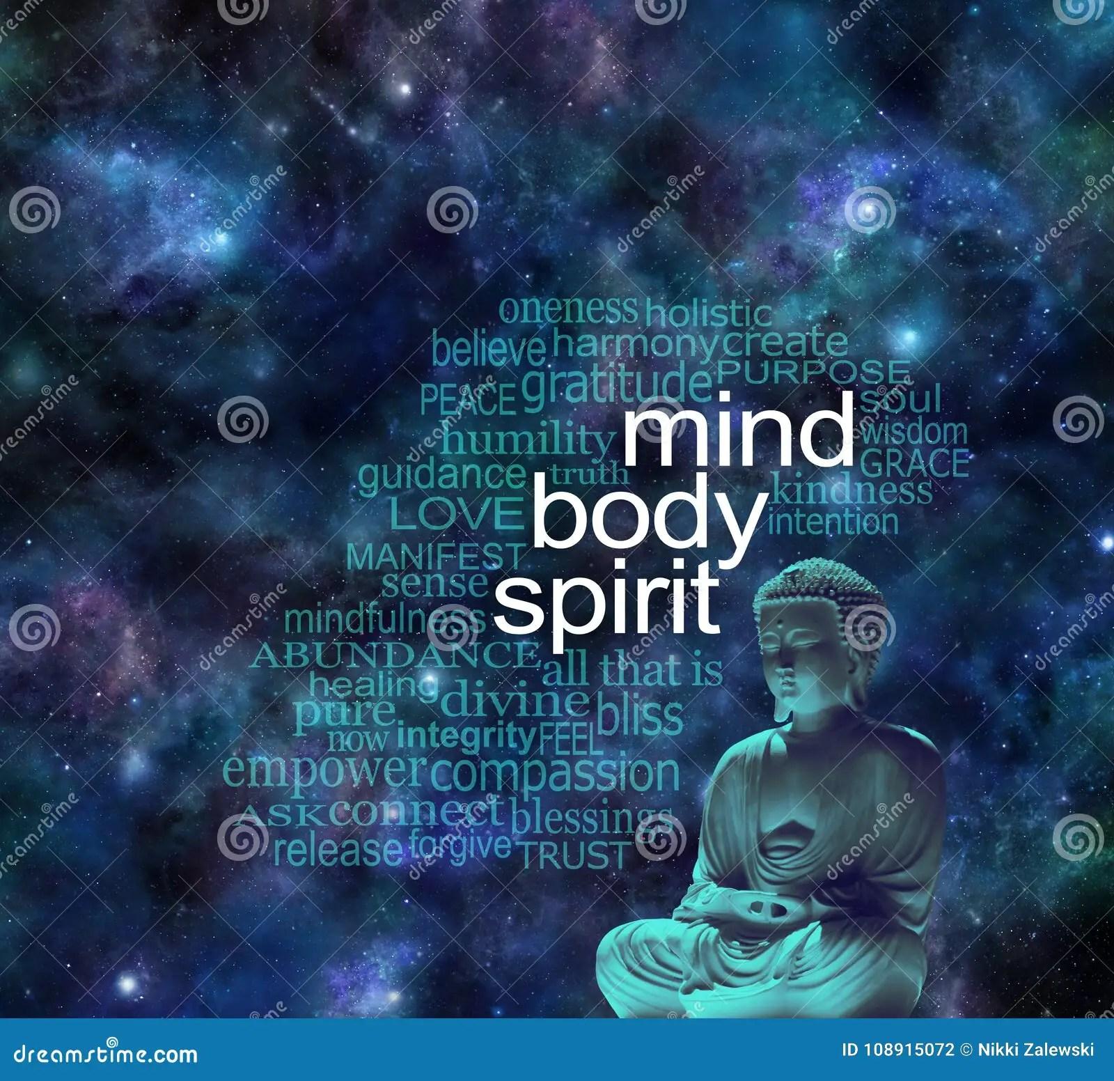 Mind Body Spirit Cosmic Buddha Word Cloud Stock Photo