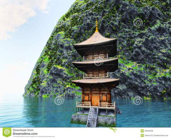 Buddhist Temple In Mountains Stock Illustration - Image ...