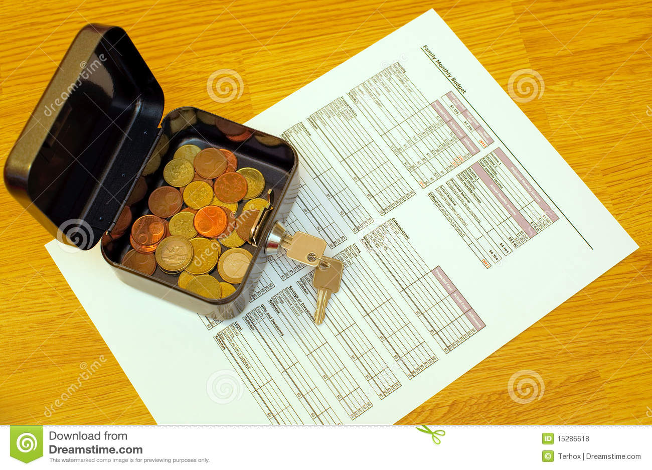 Budget Worksheet And Coins Stock Photo Image Of Savings