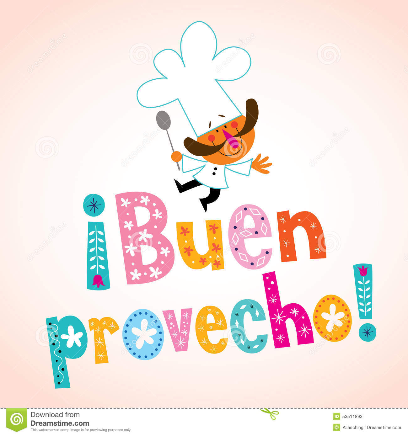 Buen Provecho Spanish Decorative Type With Chef Character