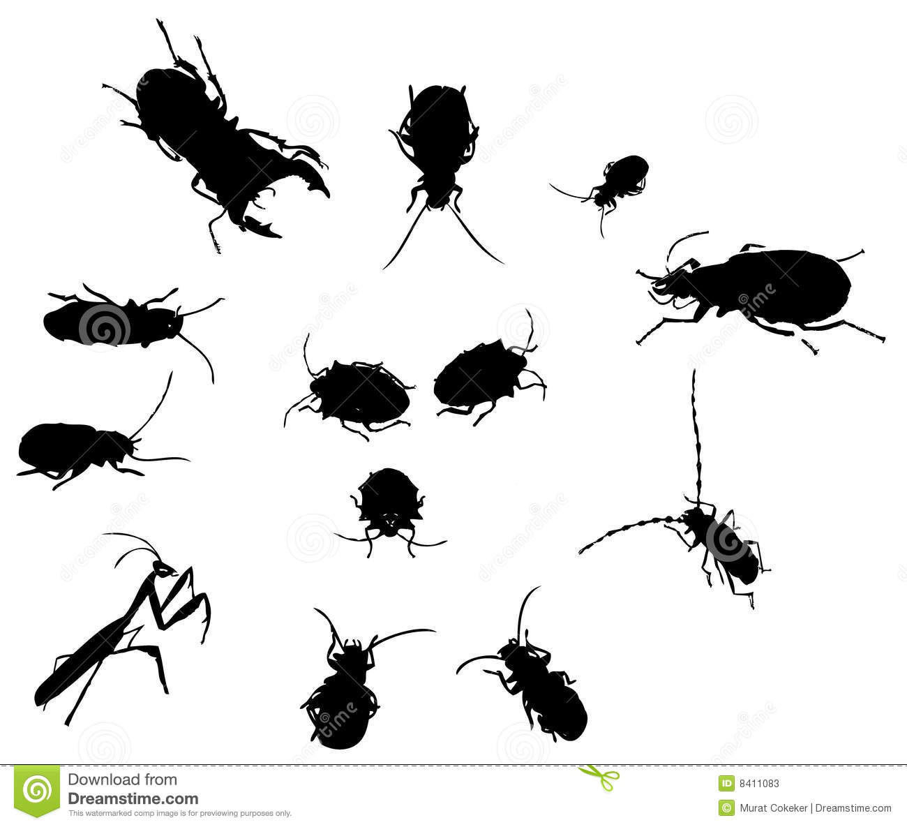 Bug Insect Silhouettes Stock Vector Illustration Of Pest