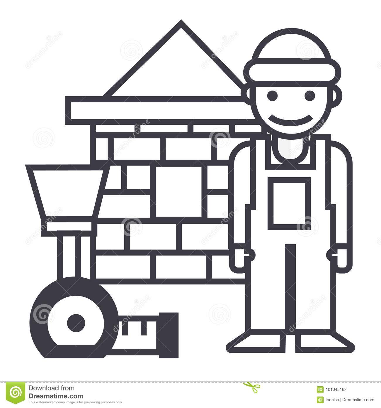 Builder Man Is Building A Brick Wall Royalty Free