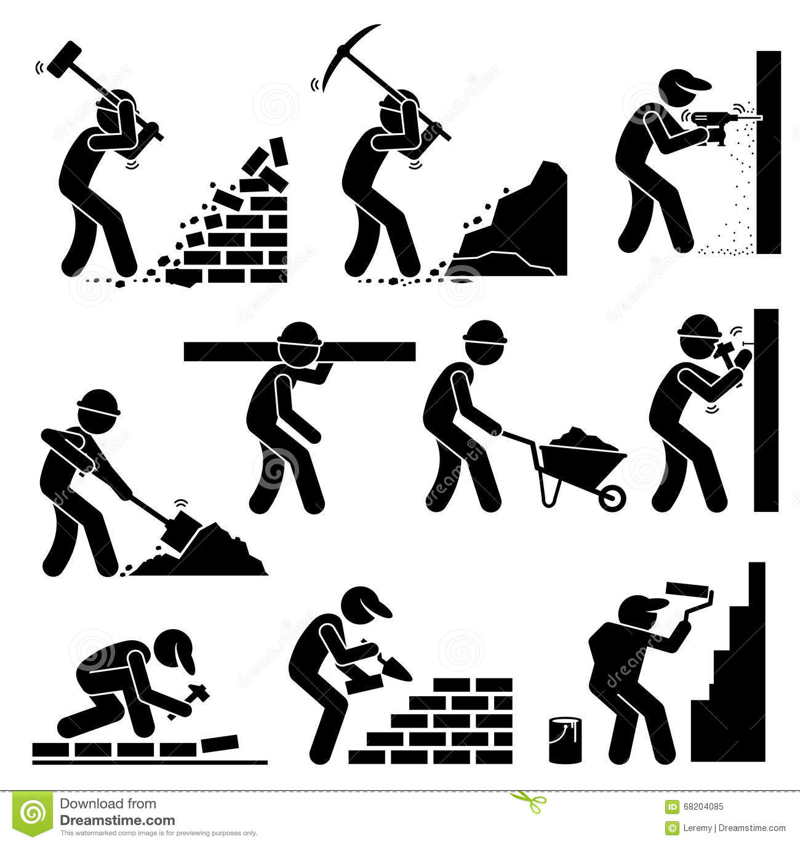 Builders Constructors Workers Building Houses Clipart
