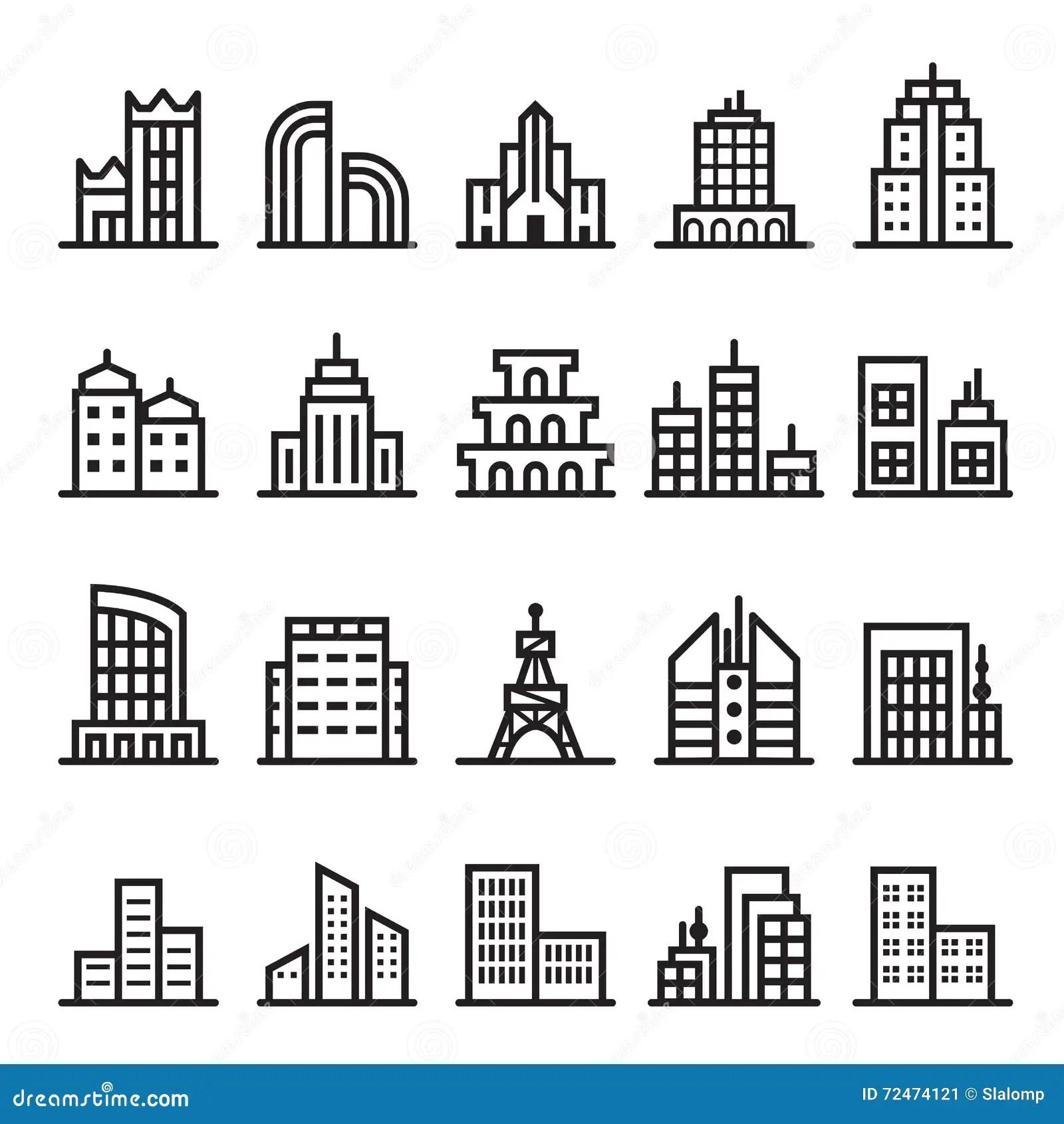 Bank Building Icon Outline Style Cartoon Vector