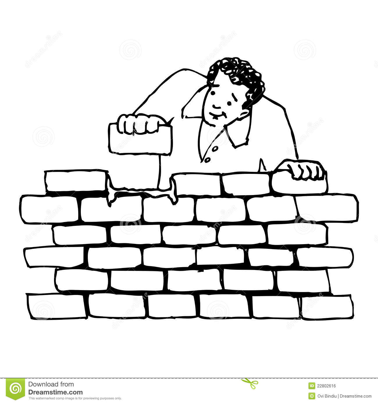 Building A Wall Stock Illustration Illustration Of Work