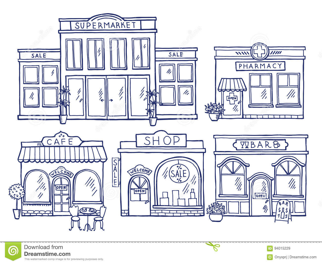 Buildings Facade Front View Shop Cafe Mall And Pharmacy
