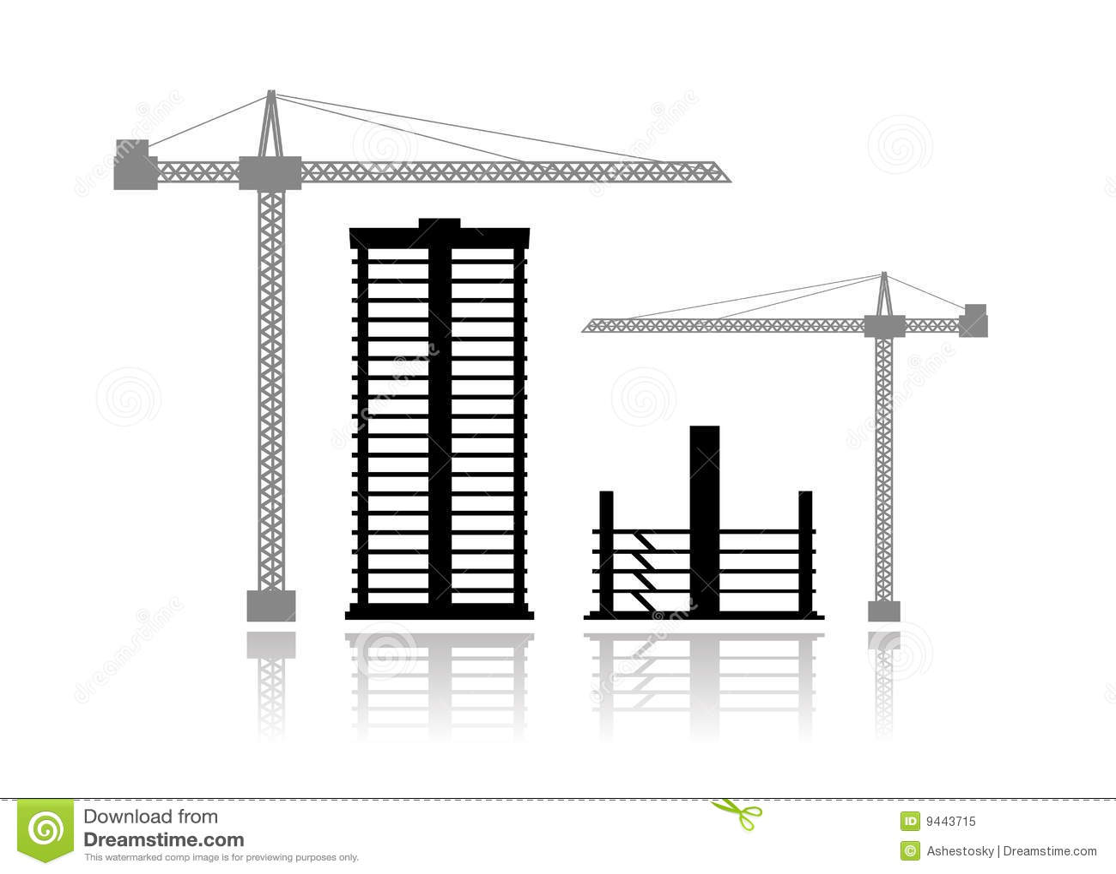 Buildings Under Construction Stock Vector