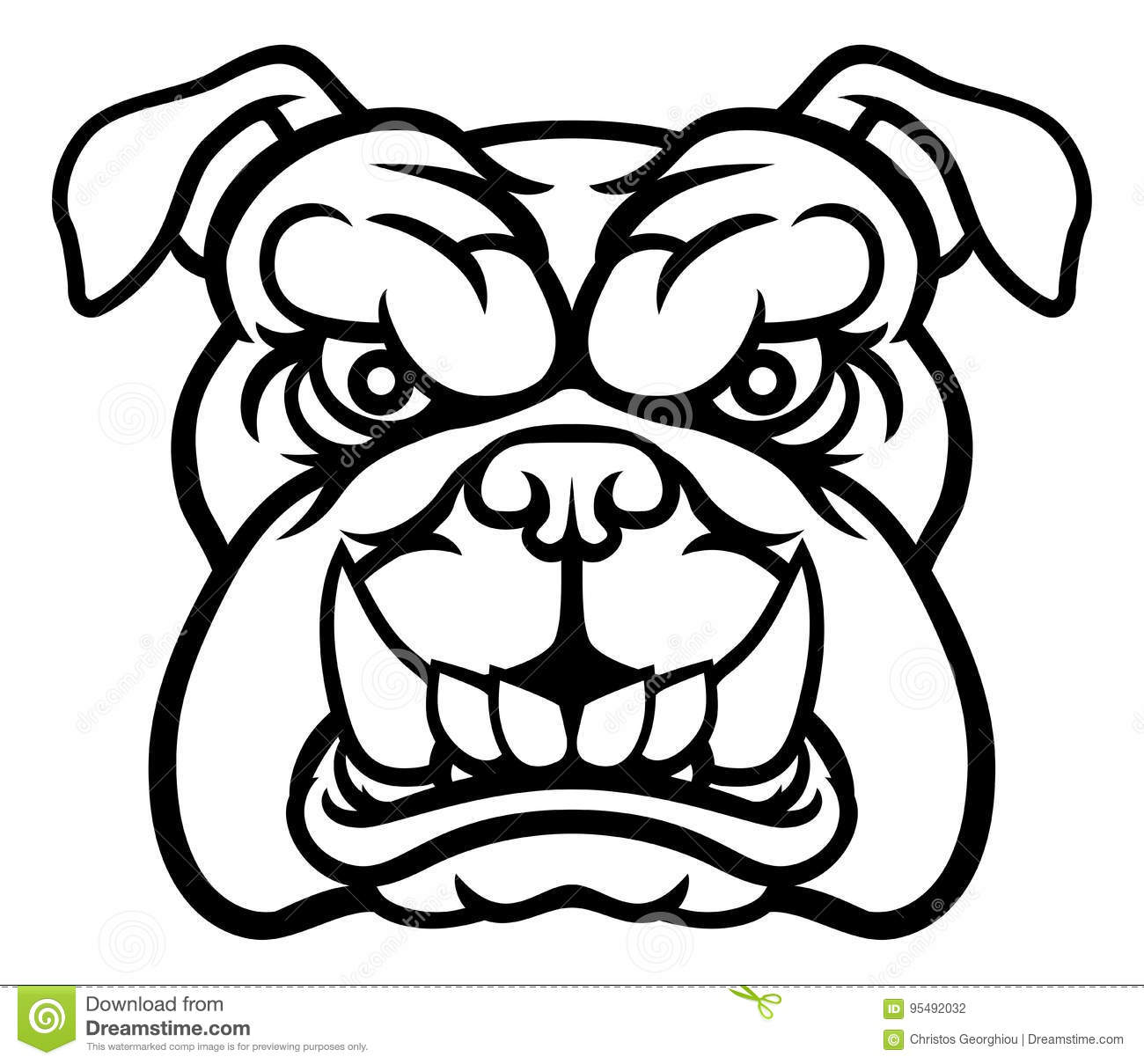 Bulldog Mean Sports Mascot Stock Vector Image Of Head