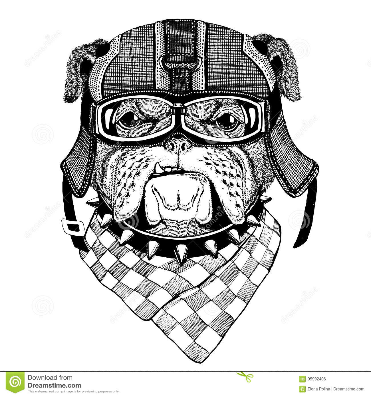 Bulldog Spanner Mascot Shield Stock Illustration