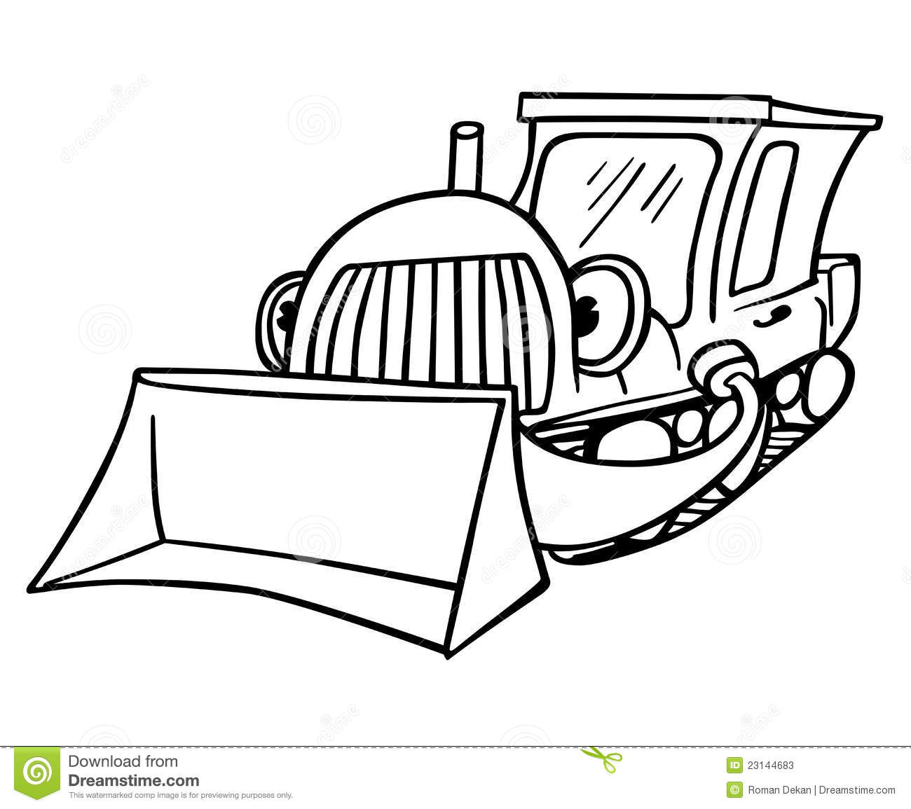 Cartoon Bulldozer Moving The Money Cartoon Vector