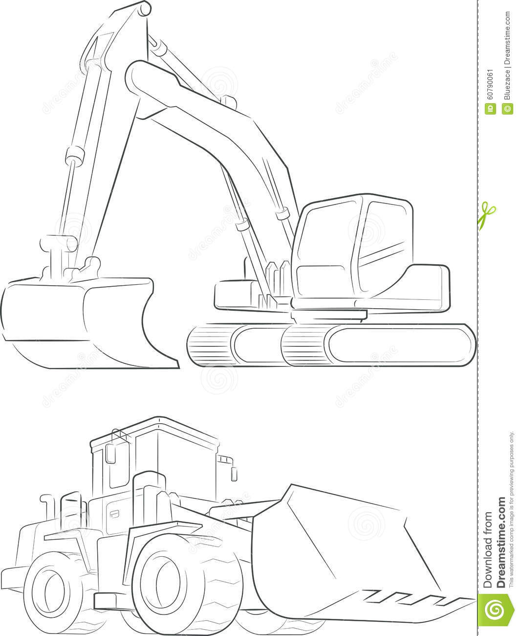 Bulldozer Amp Excavator Vector Line Art Stock Vector