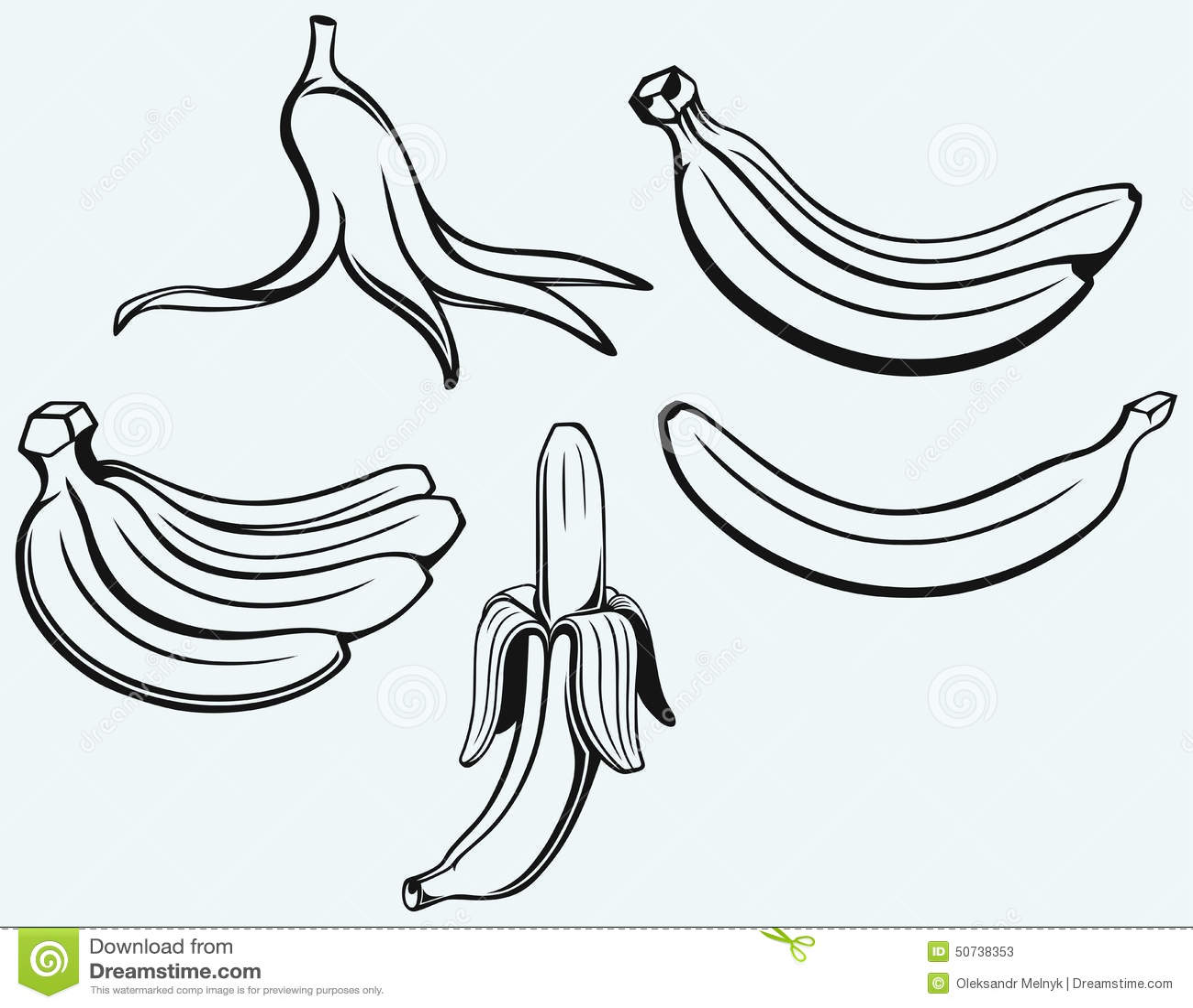 Bunch Of Bananas Peeled Banana And Banana Peel Stock