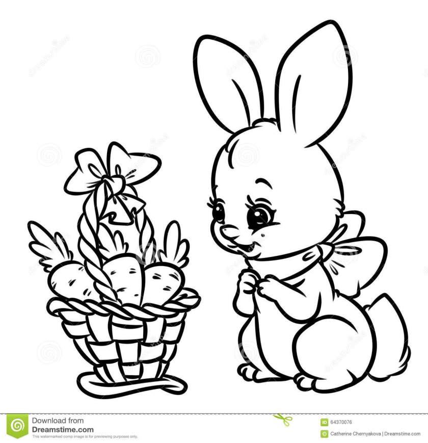 bunny basket carrots coloring pages stock illustration