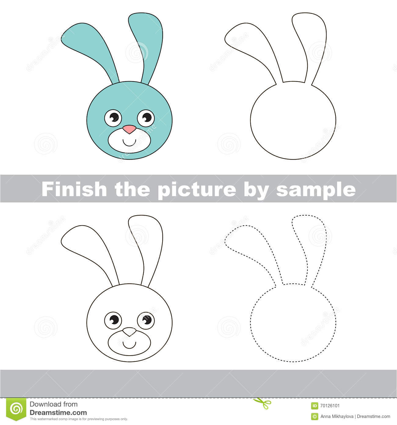 Bunny Head Drawing Worksheet Stock Vector