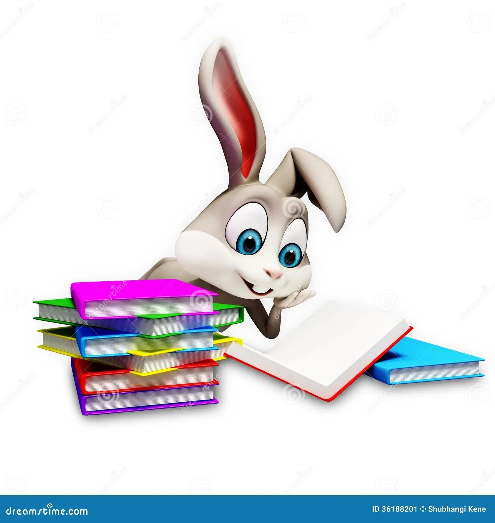 Bunny Reading A Books Stock Illustration Illustration Of