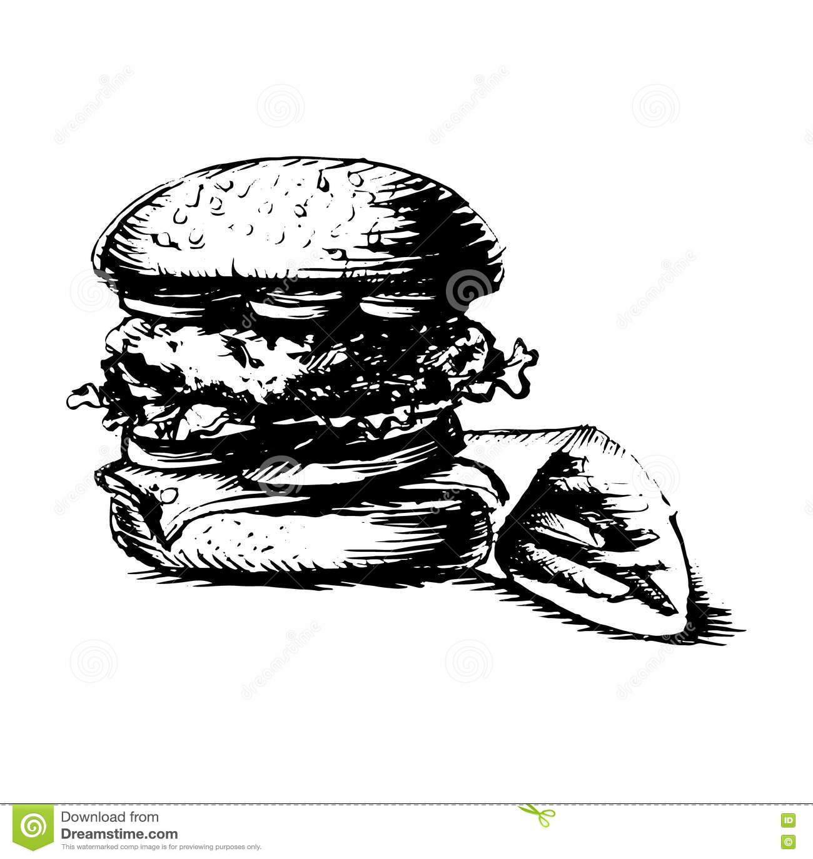 Burger Hamburger Drawing Black And White Silhouette