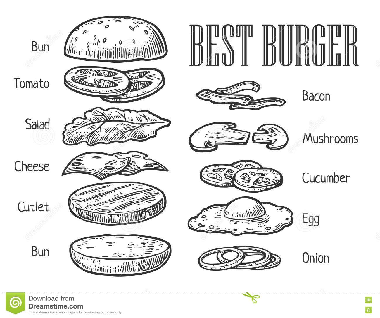 Burger Ingre Nts Vector Vintage Engraving Illustration