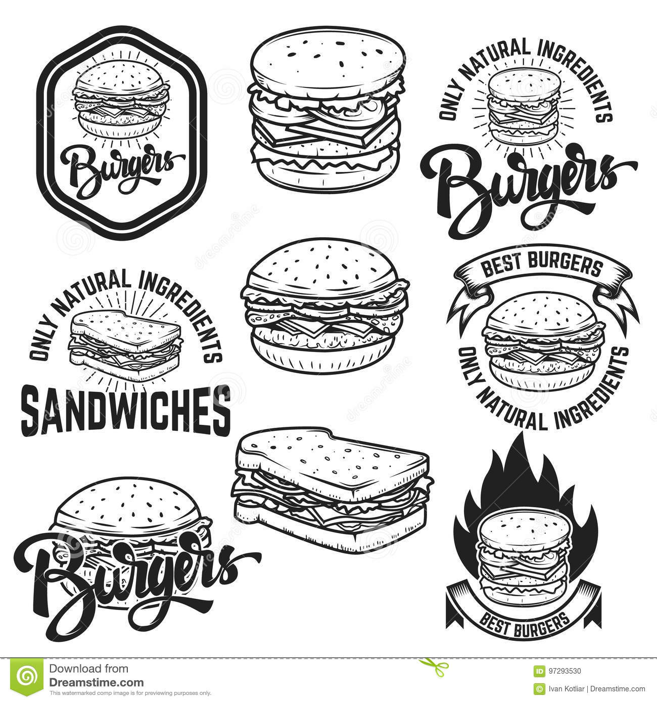 Burgers And Sandwiches Handwritten Lettering Logo Label