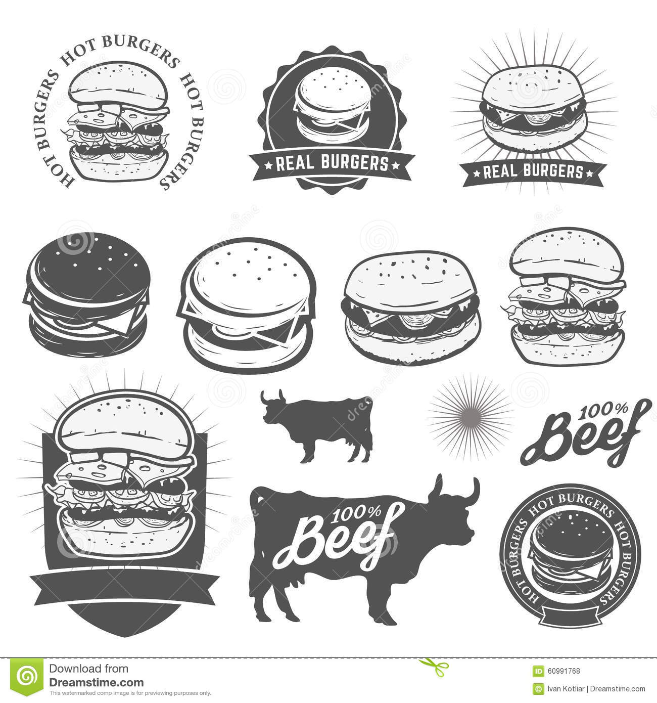 Burgers Stock Vector Illustration Of Fast Icon Meat