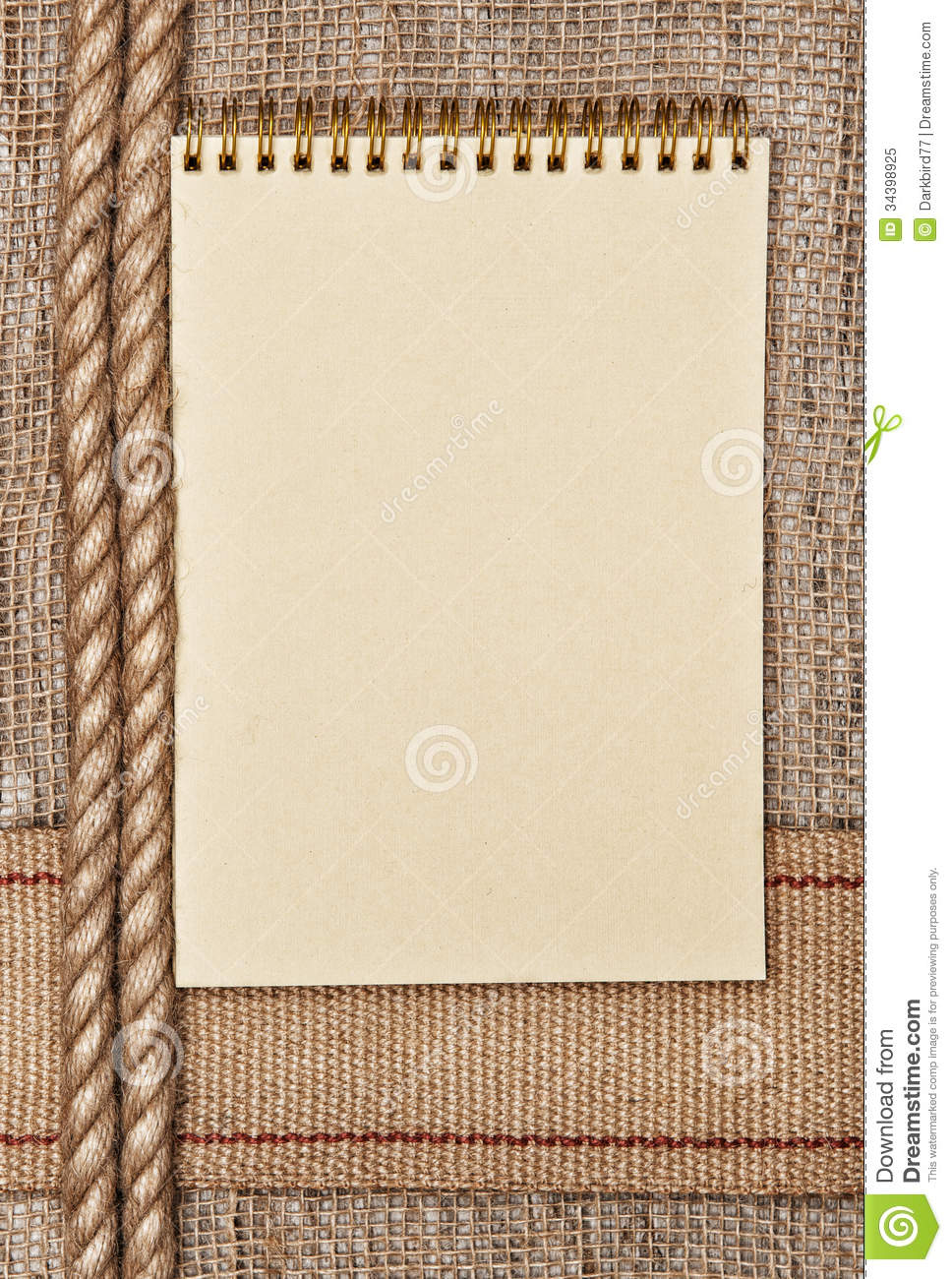 Burlap Background With Sacking Ribbon Rope And Notebook