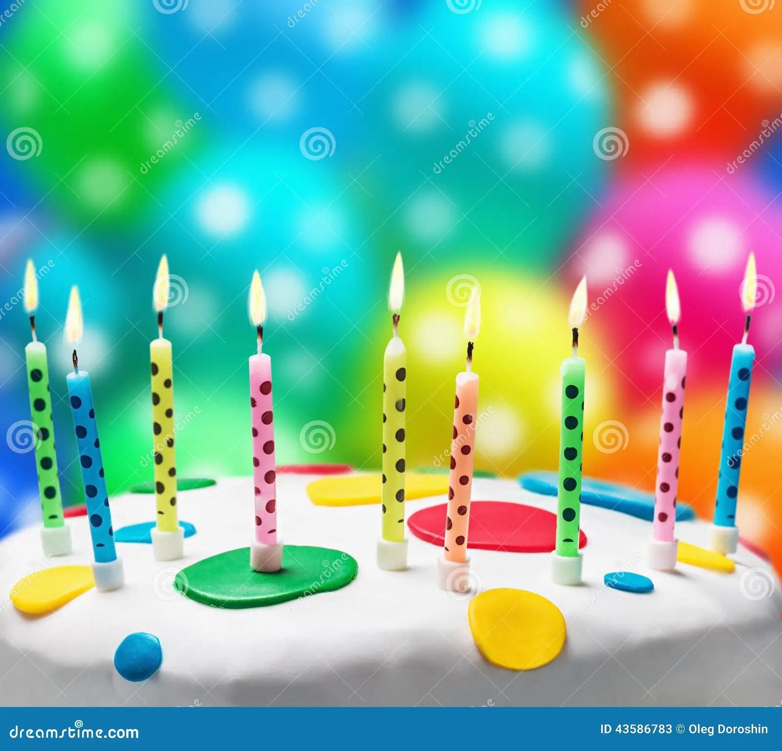 Burning Candles On A Birthday Cake Stock Image Image
